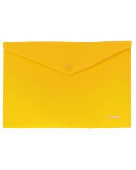 Папка - конверт А4 на кнопке, прозрачная, 180 мкм., фактура апельсин, желтая, ТМ Economix