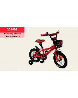 Велосипед детский 2-х колес. 14 дюймов с звонком «Like2bike Neos» рама сталь, руч. тормоза, красный
