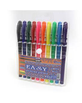 Набор гелевых ручек 10 цветов, цветной корпус, ТМ J. Otten