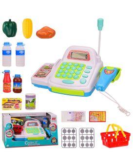 Кассовый аппарат на бат., свет, звук, калькулятор, сканер, микрофон, продукты в кор. 33х19х18 см