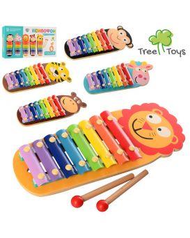 Деревянная игрушка «Ксилофон животное» 32 см, 8 тонов, 2 палочки, в ассортименте, в кор. 16х35х4 см