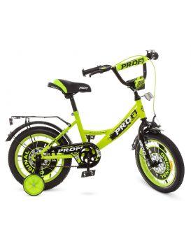 Велосипед детский 2-х колесный 14 дюймов «PROF1 Original boy» звонок, доп. кол., салатово - черный