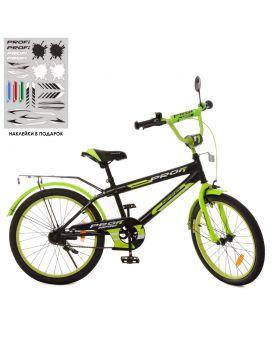 Велосипед детский 2-х колесный 20 дюймов «PROF1 Inspirer» свет, звонок, черно - салатовый (мат.)