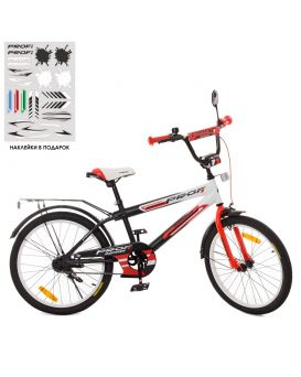 Велосипед детский 2-х колесный 20 дюймов «PROF1 Inspirer» свет, звонок, черно-бело-красный (мат.)