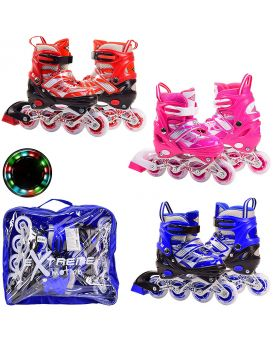Ролики S размер 30 - 33, металлическая рама, колеса PU 1 светятся
