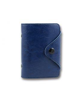 Визитница на 24 визиток формат 90 х 110 мм «Sarif» синяя, закругленные углы