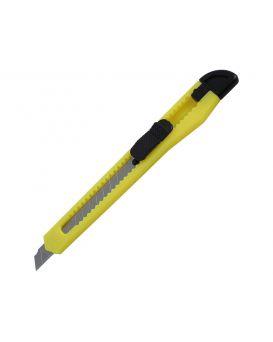 Нож канцелярский 9 мм., механический - фиксатор, желтый