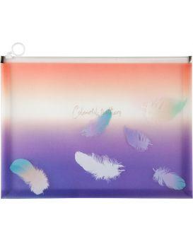 Папка на блискавці zip-lock А4+, Colourful Feather 02