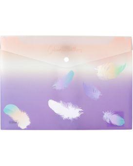 Папка - конверт А4+ на кнопке «Colourful Feather 02»