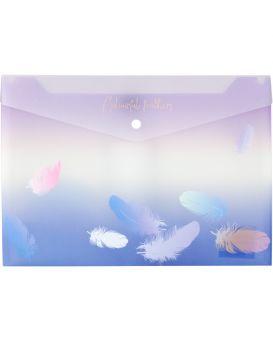 Папка - конверт А4+ на кнопке «Colourful Feather 03»