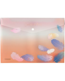 Папка - конверт А4+ на кнопке «Colourful Feather 04»