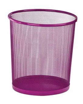 Корзина для бумаг круглая 265х265х280мм, металлическая, розоватый