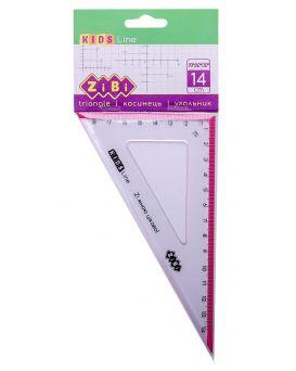 Угольник 140 мм, 90° / 60° с розовой полосой, блистер, KIDS Line