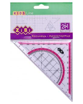 Угольник 2 в 1,140 мм, 90°/45°, с розовой полоской, блистер, KIDS Line