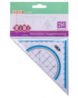 Угольник 2 в 1,140 мм, 90°/45°, с голубой полоской, блистер, KIDS Line