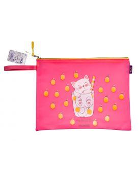 Папка А4, 33х26х1 см, плотный силикон, розовая «Котоктель»