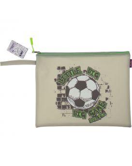 Папка А4, 33х26х1 см, плотный силикон, серая «Футбол»