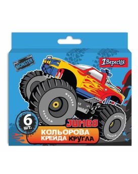 Мел цветной 6 шт. «Monster Truck» JUMBO, ТМ 1 Сентября