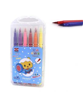 Набор кистей - фломастеров 12 шт., в пластиковом чемодане с ручкой