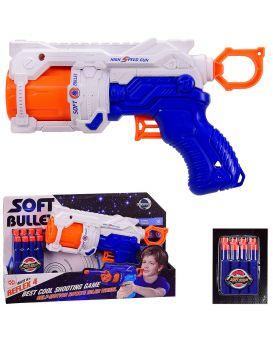 Бластер 22 см, стреляет поролоновыми снарядами, 8 снарядов, в коробке 30х7х18 см