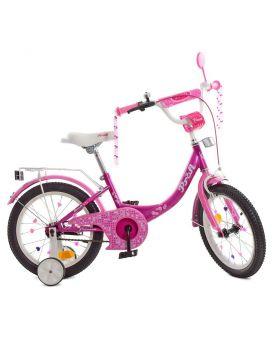 Велосипед детский 2-х колесный 16 дюйм., звонок, фонарь, доп. колеса, фукси «Princess» PROF1, SKD75