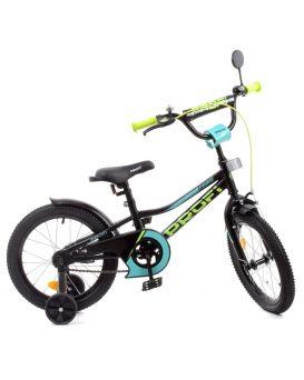 Велосипед детский 2-х колесный 16 дюймов, дополнительные колеса, матовый черный «Prime» PROF1