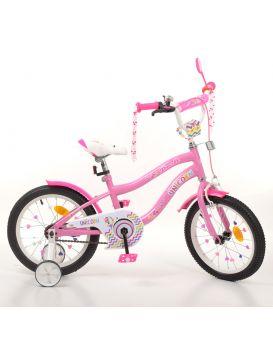 Велосипед детский 2-х колесный 16 дюймов, звонок, фонарь, доп. кол., розовый «Unicorn» PROF1, SKD45