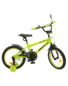 Велосипед детский 2-х колесный 16 дюйм., звонок, фонарь, доп.кол., салатово-черный мат. «Dino» SKD75