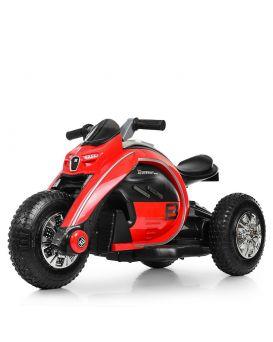 Мотоцикл 2 мотора 25 W, 1 аккум. 12v9ah, музыка, свет, MP3, USB, TF, надувные колеса, красный
