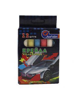 Мел круглый, цветной, 6 цветов, 12 шт. «Impulse» 8х0,9 см, в картонной упаковке