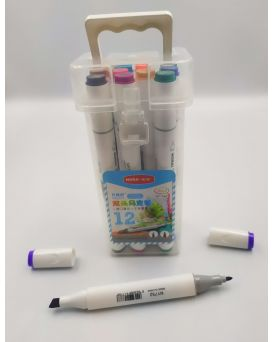 Фломастеры - маркеры, на спиртовой основе, 12 цветов, для скетчинга «Nora!»
