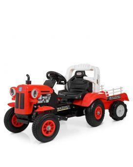Трактор с прицепом 2 мотора 25 W, 1 аккум. 6v7ah, 2,4 G, музыка, свет, MP3, кожа, надувные колеса