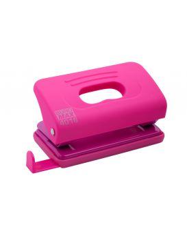 Дырокол до 10 л., пластиковый, розовый, RUBBER TOUCH