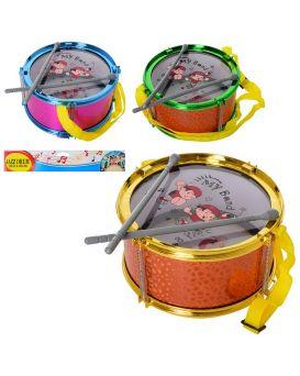 Барабан диаметр 21см, палочки 2 шт., в ассортименте, в пакете 32х26х10 см