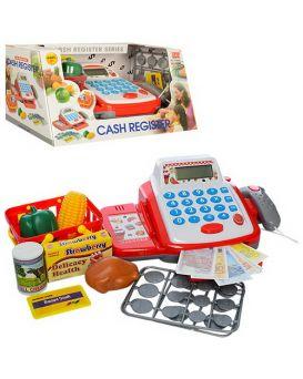 Кассовый аппарат 24 см, сканер, корзина, продукты, в ассортименте, в коробке 31х18х16 см