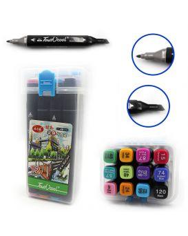 Набор скетч маркеров 12 шт., скошенные + тонкие «TouchCool» в пластиковом боксе