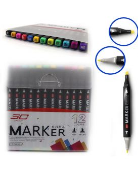 Набор скетч маркеров 12 шт., скошенные, круглый наконечник, 1х1х14,5 см «SC Professional»